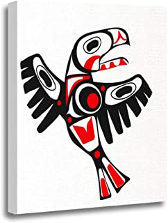 Ansouyi 16x20 Inches Canvas Wall Art Painting Red Native Totem Bird Indigenous Stylization Eagle First Nation Home Decorat...