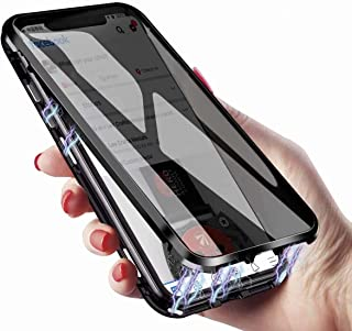 Anti-Peeping Cover Case for iPhone 12 Pro Max Case,Clear Double Sided Tempered Glass [Magnetic Adsorption] Metal Bumper Pr...