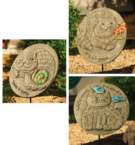 : Fat Cat Garden Stones - 3 Assorted