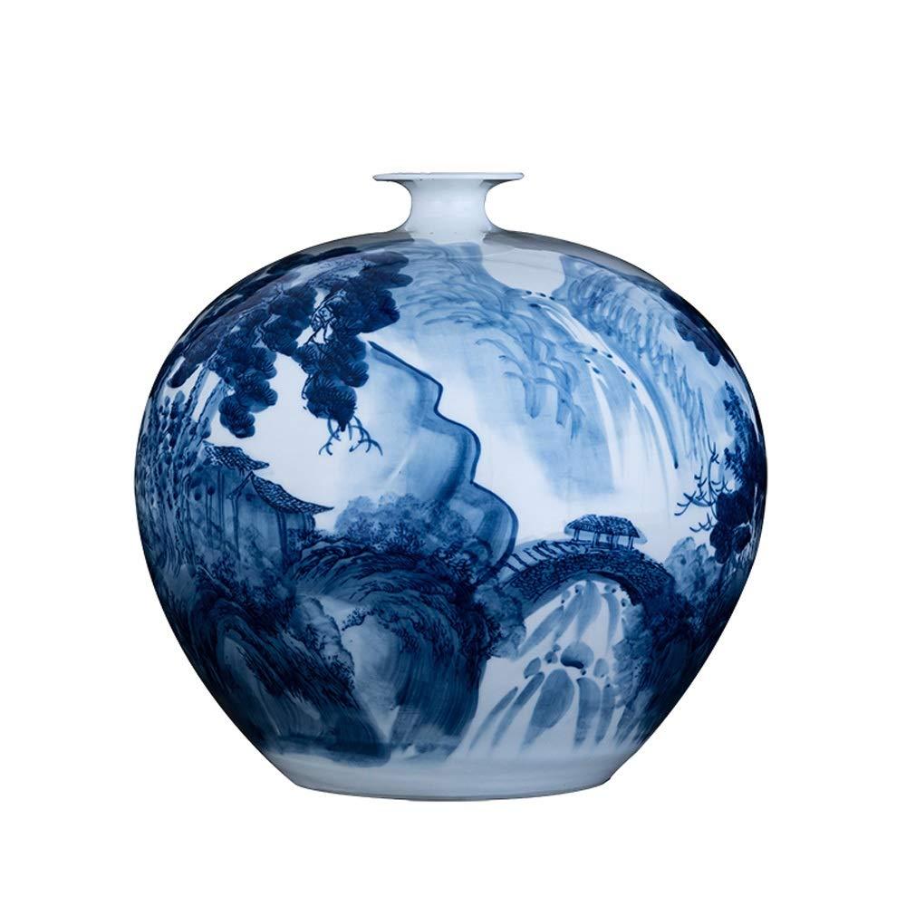 DEI QI Jarrón de cerámica China, Adornos de Porcelana Azul y Blanca, jarrón de Porcelana Grande, artesanía Tradicional Hecha a Mano, Sala de Estar/gabinete/Porche/televisor de Estilo Chino de al: Amazon.es: Hogar
