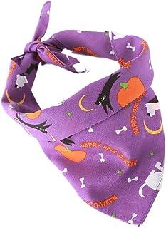 POPETPOP Halloween Printed Pet Neckerchief, Adjustable Dog Cat Triangle Scarfs, Puppy Bandana Collar, Birthday Party Gifts Supplies Pet Bibs Accessories for Dogs Cats (Purple)