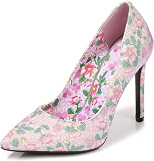 Women's Pointed Floral High-Heeled Shoes, Large Size Stiletto Heels 11 cm Gentle and Comfortable Non-Slip Sandals Suitable...