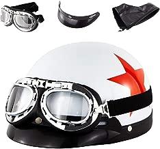 Lunettes Bavette MTTKTTBD Cuir Casque Moto Bols,Adultes Vintage Harley Casque Jet avec Visi/ère,Casque de Moto Homme et Femme pour Moped Scooter Crash Racing Protection,Cadeau