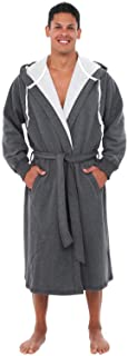 Alexander Del Rossa Mens Warm Sweatshirt Cotton Robe with...