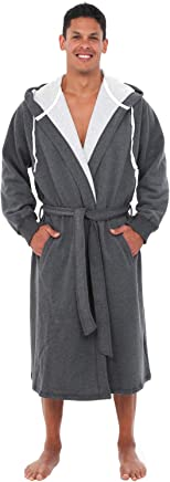 Alexander Del Rossa Mens Warm Sweatshirt Cotton Robe with Hood