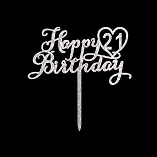 Happy 21st Birthday Cake Topper for 21st Birthday Cake Topper Party Decorations Silver Glitter Acrylic