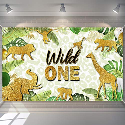 Jungle Animals Wild One Backdrop Golden Glitter Safari Baby Shower Photo Background Jungle Theme First Birthday Party Decorations Summer Tropical Leaves Background
