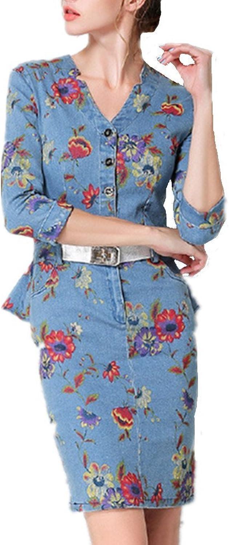 Bobbycool Ladies V Cowboy Dress Slim Collar Pendulum Lotus Leaf Edge