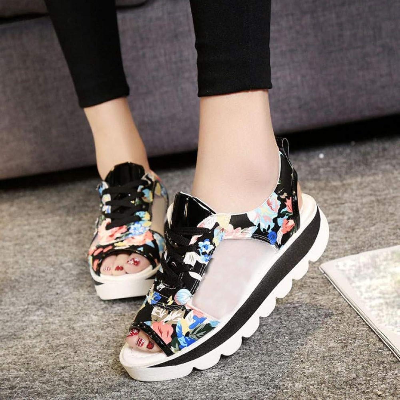 XHH Sandalette Sandalen Frau Riemen Hohe Muster Druck Plattform Schuhe Gladiator Casual Sandalen Sommer
