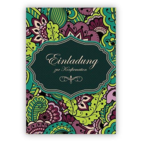 Im 5er Set: Elegante grüne Einladungskarte für Konfirmanden mit Blütenmuster: Einladung zur Konfirmation