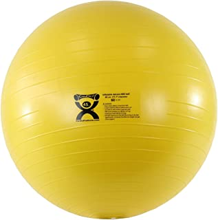 CanDo Deluxe ABS Inflatable Exercise Ball, Yellow, 17.7