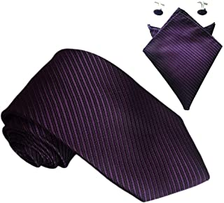 Mens Striped Business Formal Woven Silk Ties Wedding Groomsmen Party Tie Necktie with optional Pocket Square Handkerchief Hanky Cufflink Set