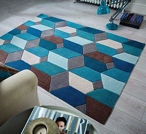 Infinite Scope Modernes schwere Gewicht Qualität Handtuft Dick Blaugrün Orche Teppich in verschiedenen Größen Teppich, Polyester, blaugrün, 160x230cm (5'3''x7'7'')