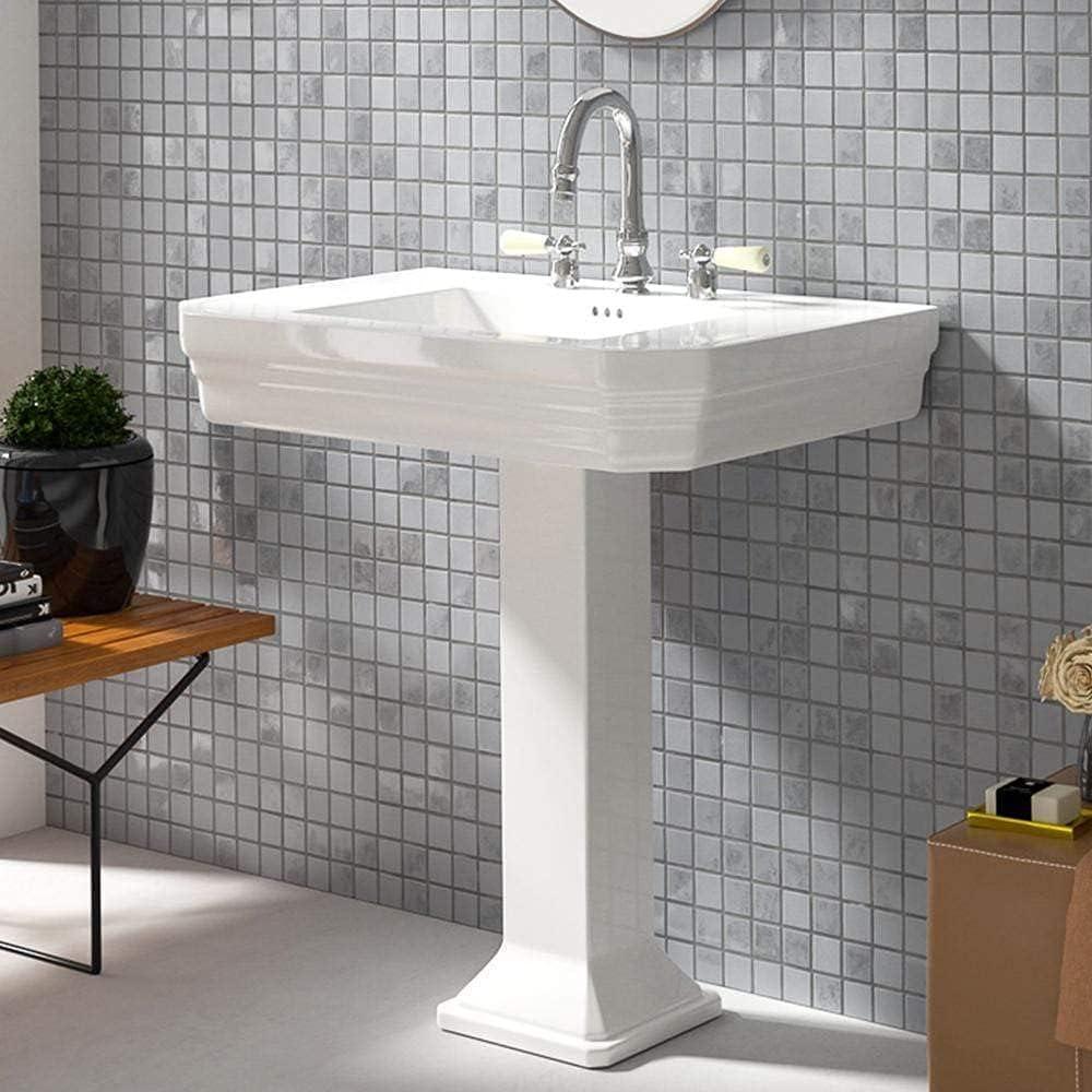 Magnus Home Products Max 49% OFF Ola Vitreous Regular dealer Pedestal China Bathroom Sink