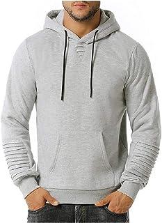 HEFASDM Men Hoodie Hooded With Pockets Fall Winter Relaxed Hooded Sweatshirt