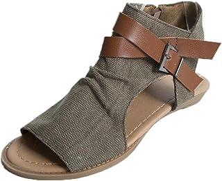 c8fd3cc34e5577 Angelof Sandales Femmes, Sandales Plat Solide Femme Chaussures Poissons  Bouche Sandale Randonnee Fermé Ado Fille