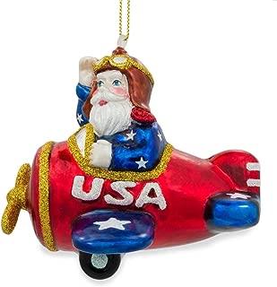 BestPysanky Pilot Santa on Airplane Glass Christmas Ornament 3.75 Inches