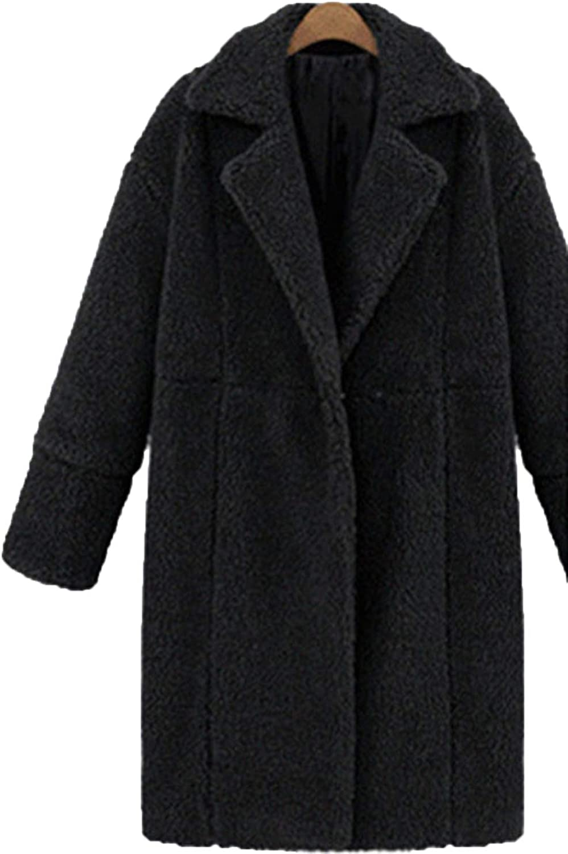 Wool Blend Coat Women Long Sleeve Thick TurnDown Collar Jacket Casual Winter Overcoat