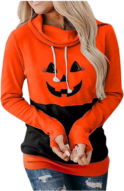 Jeeke Womens Hoodies Halloween Pullover Graphic Pullover Plus Szie Casual Pumpkin Face Print Drawsting Funny Hoodies