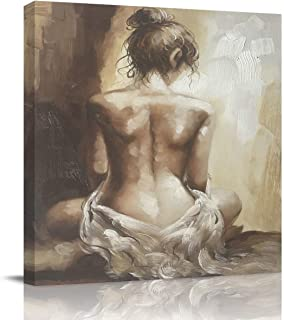 Arts Language Square Canvas Print Wall Art for Bathroom/Kitchen/Bedroom Wall Decor Sexy Nude Girl Lady Back Figurative Oil Painting Print on Canvas Gallery Wrap Framed and Ready to Hang-16x16in