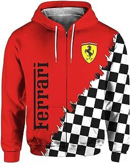 Felpa Casual con Cappuccio Unisex A Maniche Lunghe Primavera E Autunno con Logo Ferrari 3D Digitale con Cerniera Stampata