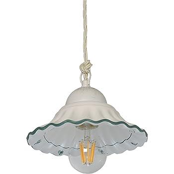 Lampada sospensione piatto plisse diametro 20 in Ceramica Decorata a Mano Disponibile in 5 Colori VANNI LAMPADARI