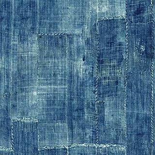 壁紙 シール はがせる Lafayette Patchwork-Blue デニム パッチワーク 青 ブルー