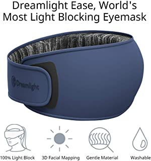 Dreamlight Ease 3D Contoured Sleep Mask, 100% Light Blocking, Made by Breathable, Comfortable, Anti-Wrinkle Fabric, for Sleeping, Traveling, Shift Work, Meditation (Blue)