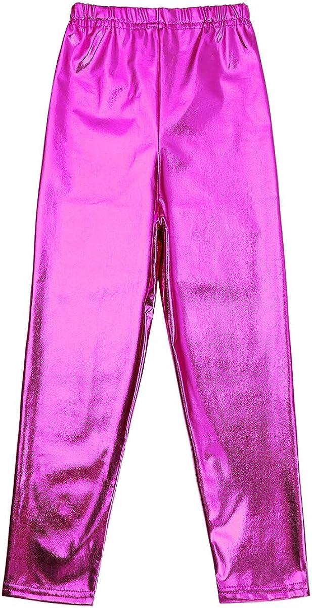 vastwit Kids Girls Shiny Metallic Basic Gymnastic Ballet Dance Stretch Waistband Leggings High Waist Tights Pants