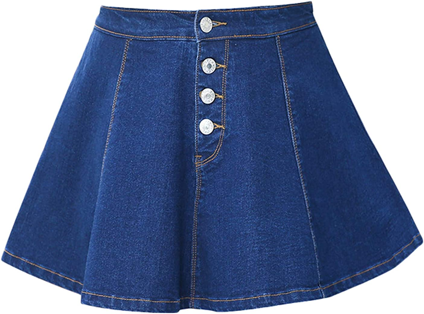 Youhan Women's Plus Size Casual Pleated A-Line Mini Denim Skirts