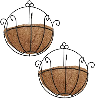 PERTTY 2 Pcs Iron Wall Hanging Planters Basket 9.8 inches Half Round Plant Flower Wall Holder with Coco Coir Liner Plant Hanger Decoration for Garden Porch Balcony Indoor Outdoor