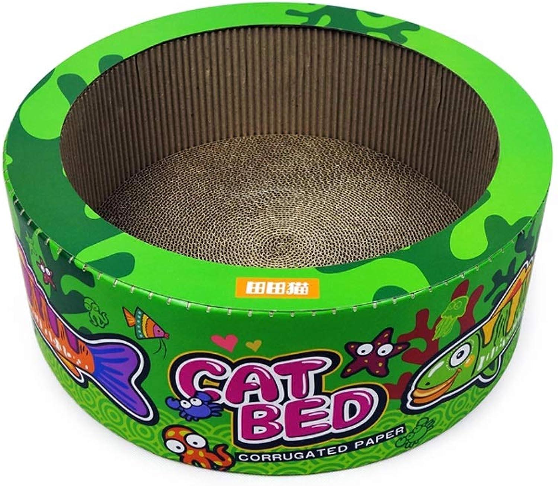 SMMBM Pet Bed Deep Sea Series CakeLike Cat Litter, Cat Scratch Board Cat Toy, Green orange Pet Bed (color   Green)