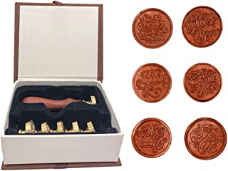 Wax Sealing Stamps Set,1 Wooden Handle + 6 Removable Sealing Copper Head, Vintage Classical Seal Stamp Kit with Gift Box (for You+Thank You+Miss You+My Friend+ Love+Good Luck)