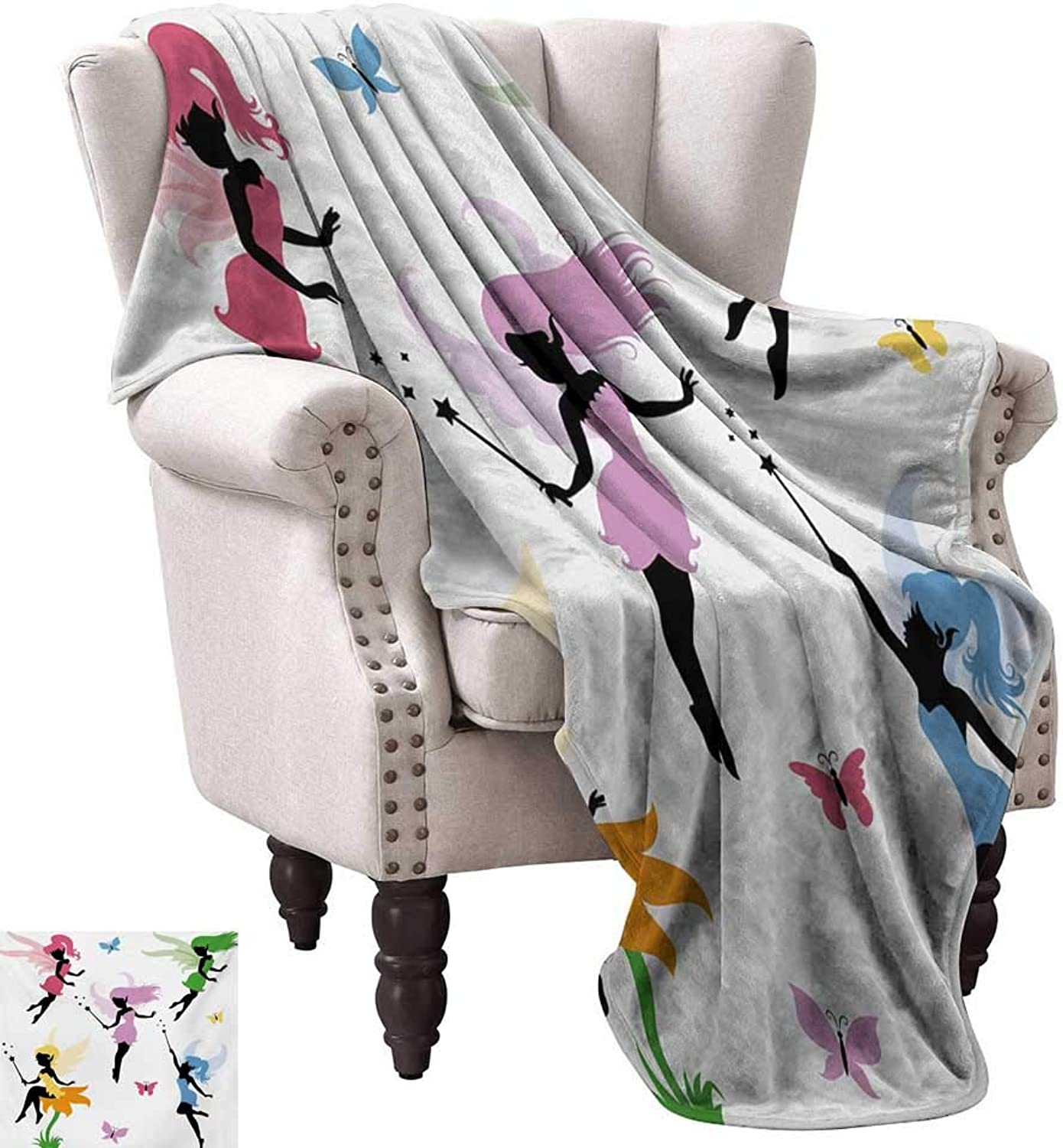 Anyangeight Throw Blanket,Cute Pixie Spirit Elf Fairies Flying with Butterflies Girls Princess Flowers Design 60 x50 ,Super Soft and Comfortable,Suitable for Sofas,Chairs,beds