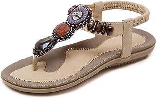 صندل فلات Gladiator من SHIBEVER صيفي للنساء مريح وغير رسمي حذاء للشاطئ بنعل سميك بوهيمي مطرز