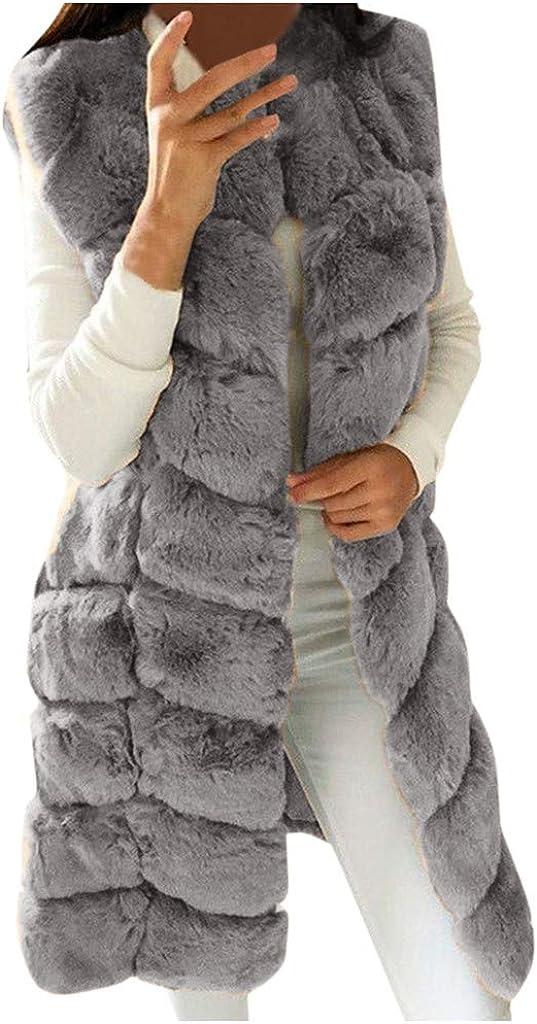 Dainzuy Womens Faux Fox Fur Vest Long Sleeveless Fur Jacket Winter Warmer Gilet Long Waistcoat Coat Outwear