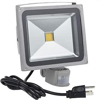 Motion Sensor Floodlight Outdoor, 30W PIR Induction LED Lamp, IP65 Waterproof Spotlight, 3200K 2400LM LED Sensor Light,250W Bulb Equivalent Security Light with US 3-Plug(Warm White)