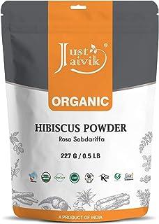 Just Jaivik Organic Hibiscus Flower Powder (Hibiscus Sabdariffa) 227 g Usda Certified Organic| Biodegradable Resealable Zi...