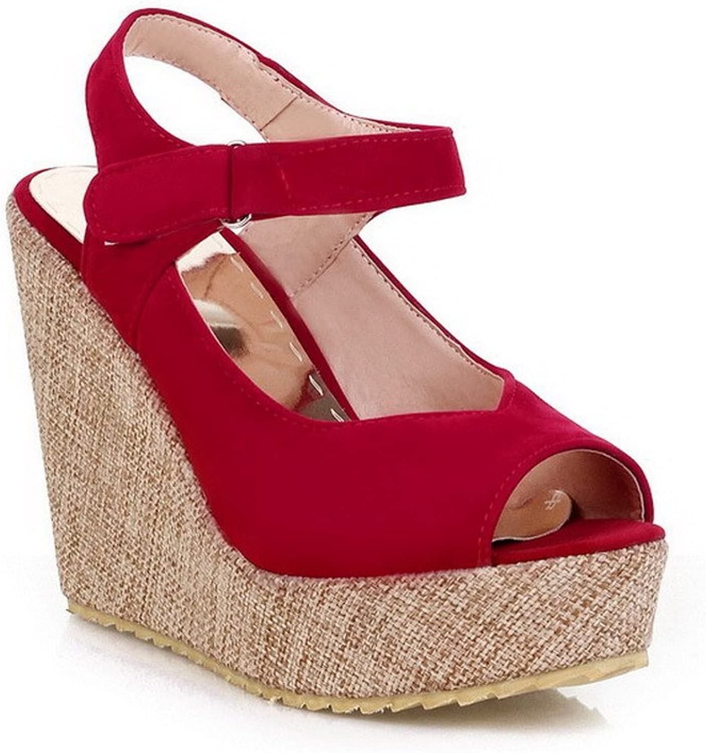 WeenFashion Women's Imitated Suede Solid Hook-and-Loop Peep Toe High-Heels Platforms & Wedges
