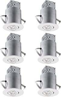 TORCHSTAR Recessed Lighting Kit: 3 Inch ETL-Listed Air Tight IC Housing + White Swivel Trim + LED Dimmable GU10 Bulb Daylight, Rotatable Spotlight, Retrofit Downlight Kit, Pack of 6