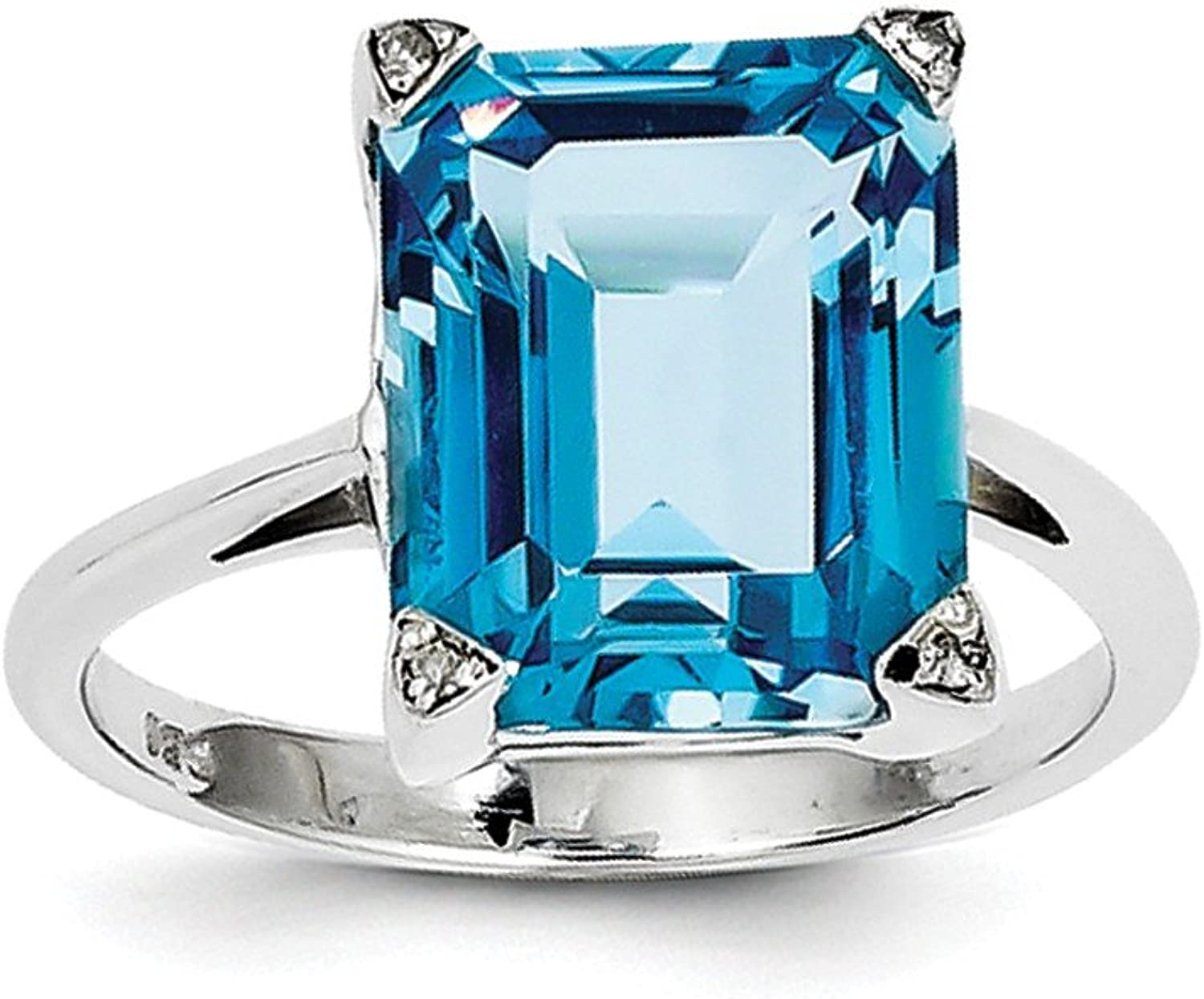925 Sterling Silver Rhodium Plated Swiss bluee Topaz And Diamond Solitaire Engagement Ring For Women (6.75ct)