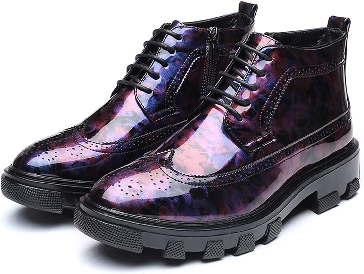 2019 Mens Boots Men's Casual Fashion Business and Ankle Boots Non-Slip Thick Patent Leather Brogue Formal shoes