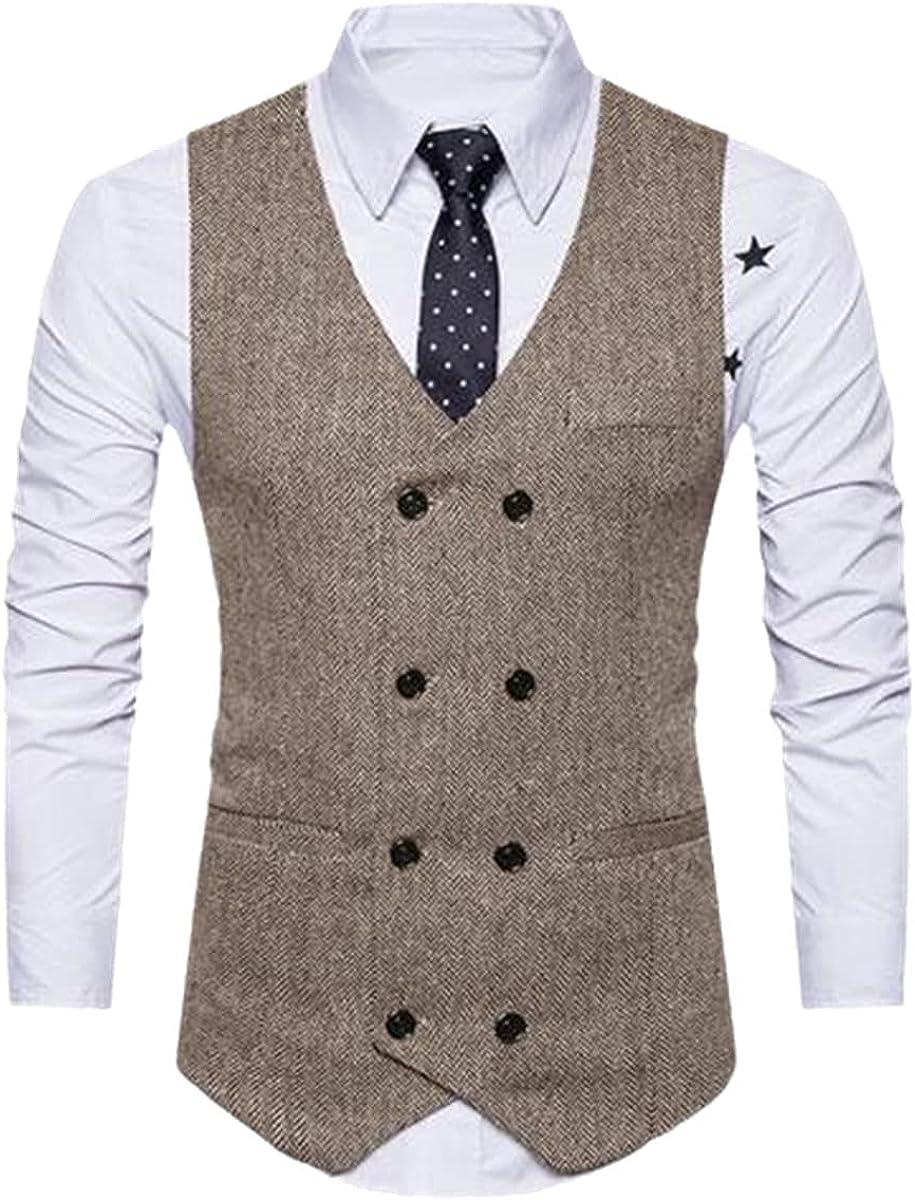 Retro Suit Vest Men's Formal Vest Fitness Sleeveless Jacket Double Breasted Vest Business Vest