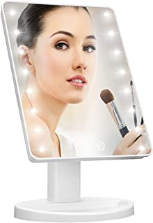 Lighted Vanity Makeup Mirror with 16 Led Lights 180 Degree Free Rotation Touch Screen Adjusted Brightness Battery USB Dual Supply Bathroom Beauty Mirror (White)