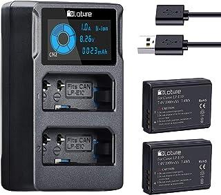 LP-E10 Paquete de 2 baterías de repuesto juego de cargador de batería para cámara para cámaras digitales Canon EOS Rebel T3 T5 T6 T7 Kiss X50 Kiss X70 EOS 1100D EOS 1200D EOS 1300D EOS 2000D