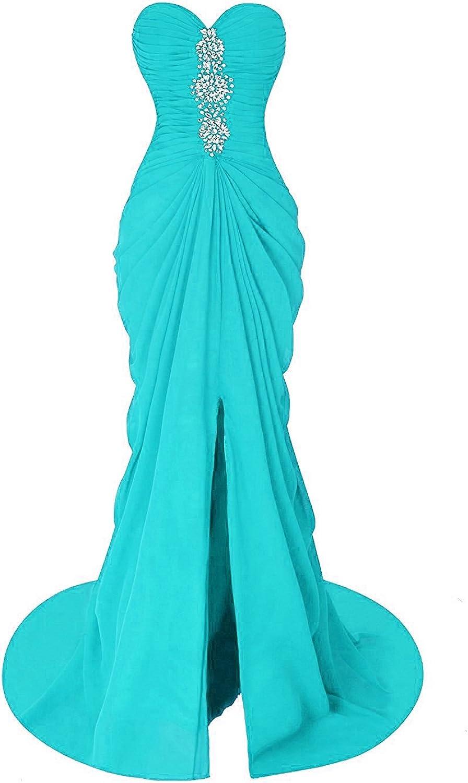 Fanciest Women's Mermaid Prom Dresses Long Beaded Split Sexy Evening Formal Gowns