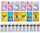 KINPARTY ® - 6 Mini libretas de fútbol, 6 mini libretas de unicornio y 12 cajitas de ceras de colores – Ideales para regalos de cumpleaños, fiestas, celebraciones, relleno de piñatas y regalos