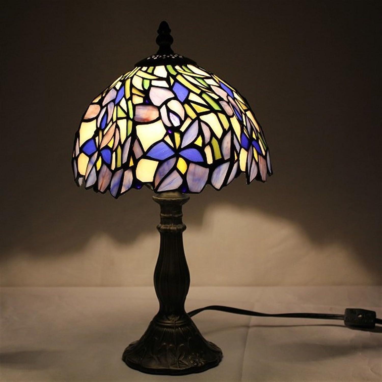 HDO 8-Zoll Pastorale Glasmalerei romantische lila Tischlampe Schlafzimmer Lampe Nachttischlampe