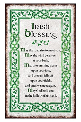 Irish Blessing T-Towel With A Green Celtic Boarder And Shamrock Design