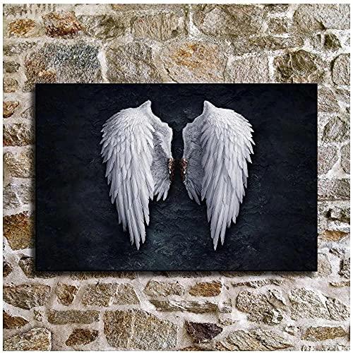 Pôsteres Vintage Imagens de Asas de Anjo Preto e Branco Pinturas em Lona Asas Pop Art Imagens de parede para sala de estar 40X60cm Sem moldura